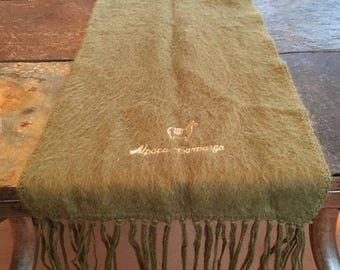 Vintage 1980s Olive Green Alpaca Cashmere Scarf ...