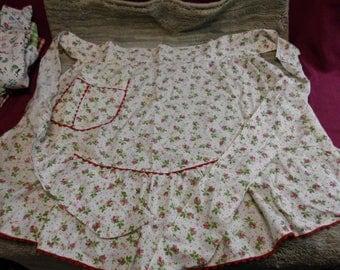 Vintage Cotton Half Apron Pink Red Floral Pattern Red Rick Rack Trim Handmade