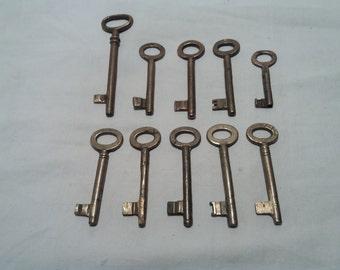 Ten Vintage Brass Keys