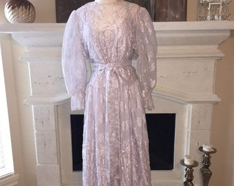 EVERYTHING ON SALE Rina di Montella ~ Vintage Lavender Floral Lace with Sequin Gown ~ Size 14