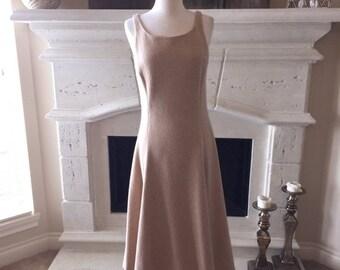 EVERYTHING ON SALE Ralph Lauren ~ Vintage Tan Wool Dress ~ Size 10