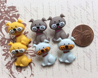 SET of 6 Adorable Playful Puppy Buttons with Shanks