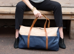 Cork and Denim Weekender Bag/ Unisex Duffle Bag/ Large Travel Bag/ Denim Overnight Bag/ Cork Duffel Bag/ Made in USA Bag/ Spicer Bags