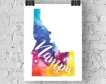 Custom Idaho Map Art, Idaho Watercolor Heart Map Home Decor, Boise, Nampa or Your City Hand Lettering, Personalized Giclee Print, 5 Colors