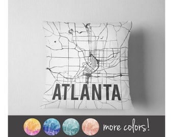Watercolor Atlanta map throw pillow