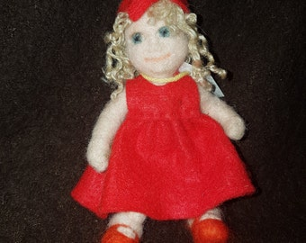 Needle Felted Red dress doll ooak
