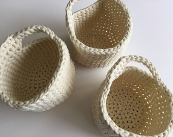 Crochet Hanging Baskets, Door Knob Basket, Coat Hook Basket, Hanging Storage, Storage Solutions, Office Storage, Housewarming Gift