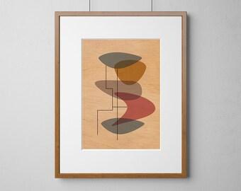 Mid-Century Modern Eames Style Print | Wood Wall Art | Mahogany Wood |  A3 or 12 x 16 Inch | Free Shipping Worldwide