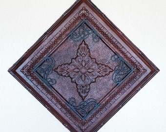 SALE!! Vintage Tin Ceiling Tile with Metal Accents
