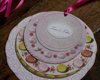 Greed, a stack of cupcakes wedding invitation