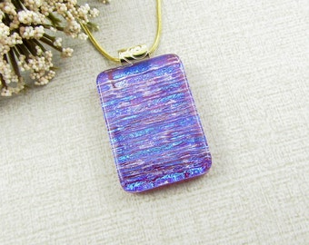 Vibrant Purple, Blue and Red Dichroic Pendant - Fused Dichroic Glass Necklace with Gold Plated Chain