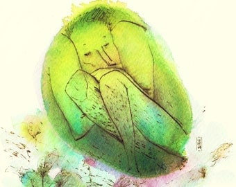 "Original drawing ""Green bubble"""