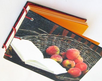 ACEO size blank book - Orange Paper Book - Fruit in a Basket - Peaches and Cookbook - Coptic Stitch Small Book