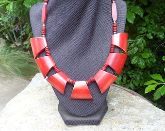 Vintage Necklace, Red, Wood, Shell, Tribal