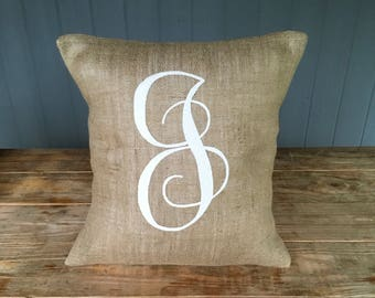 Delightful Burlap Pillow, Monogram Burlap Pillow, Rustic Pillow, Throw Pillow, Burlap  Pillow,