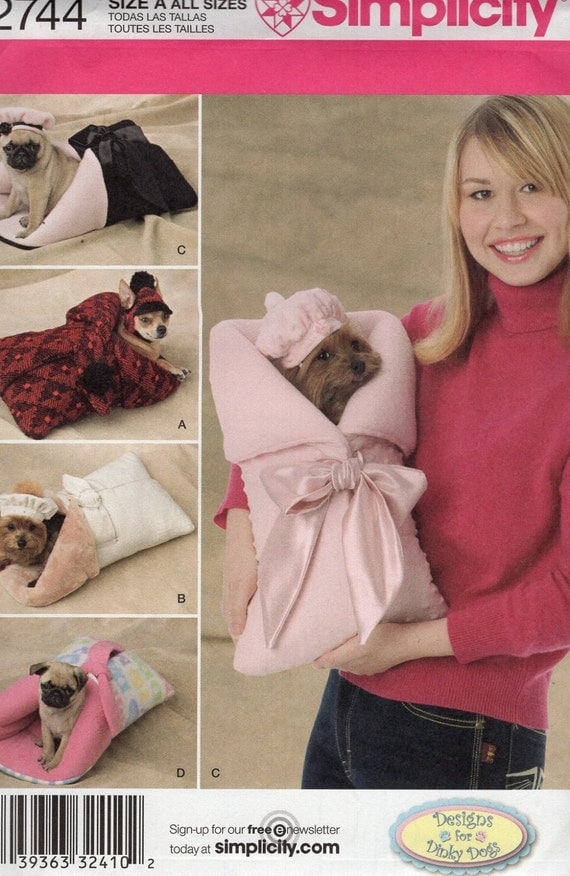 Simplicity Sewing Pattern 2744 Animal, Pet Carrier Bed Beret Bonnet All Sizes Free Us Ship Out of Print 2000 New Uncut Tiny Dog