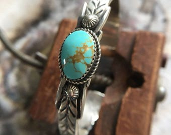 Authentic Navajo Kingman Turquoise Sterling Silver Cuff Bracelet signed by Martha Cayatino - Gorgeous, Beautiful Round Stone
