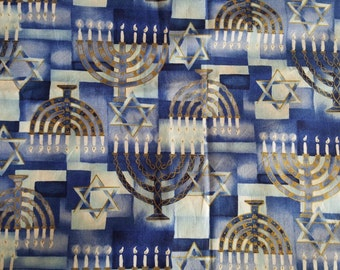 Jewish Fabric, Menorah of Gold, Star of David, Alexander Henry, Out of Print & Hard to Find, 100% Cotton, Sold by the Fat Quarter
