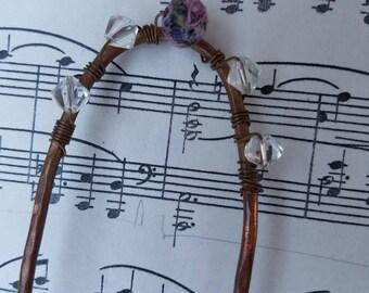 Metal Hair Fork, Hair Stick, Hair Pin, Hair Pick -Beaded Hammered Copper Hair Fork