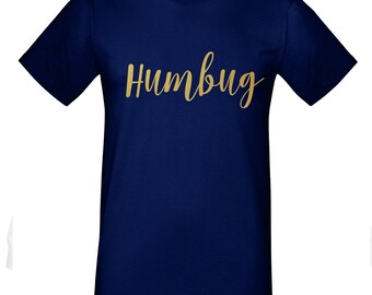 Mens Humbug Anti Christmas T-Shirt in Gold Lettering