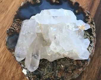 Crystal Quartz Cluster, blue agate slab