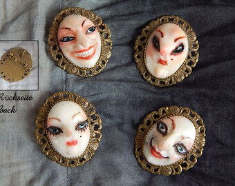 whimsical faces - brooch/ pendant