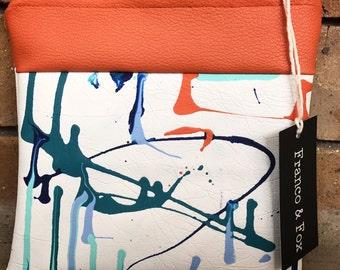 Handpainted Faux Leather Pouch - Purse - Accessories Bag - Clutch
