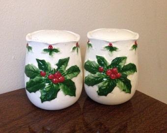Vintage Holly Salt & Pepper Shakers