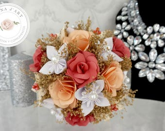 Paper flowers bouquet, Bridal bouquet made with origami flowers, coral and white flowers