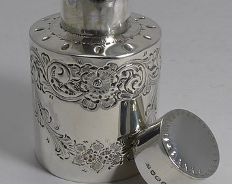Antique English Sterling Silver Tea Caddy - 1897