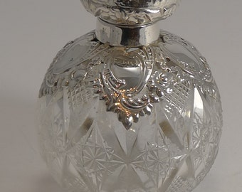 Antique English Cut Crystal and Sterling Silver Perfume / Scent Bottle