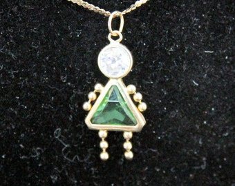 Estate 14K Solid Gold Peridot Green August Birthstone Girl Charm .85 Grams Fast Shipping