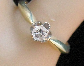 Estate 14K Yellow Gold .25 Carat Genuine Diamond Solitaire Engagement Ring 2.05 Grams Size 4.33 Mother's Day
