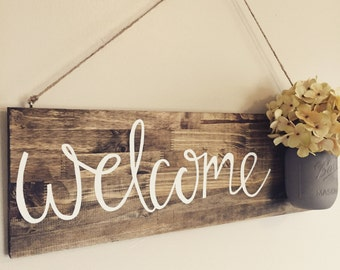 Welcome Sign, mason jar with flowers, home decor, front door sign, rustic home decor, house warming gift
