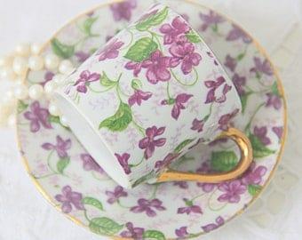 Vintage Porcelain Demitasse Cup and Saucer, Violet Chintz Decor, Handpainted