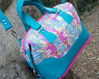 READY TO SHIP Brooklyn/ Brooklyn Handbag, Brooklyn Purse, Blue & Pink Brooklyn Handbag, Handmade Bag/ Purse, Swoon Bag, Swoon Brooklyn Bag