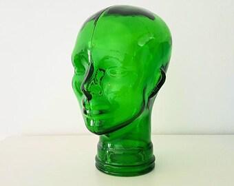 cabeza de cristal verde / green glass head
