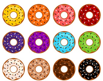 70% OFF Colorful Sprinkle Donut Cliparts, Colorful Sprinkle Donut Clipart Graphics, Personal & Small Commercial Use, Instant Download