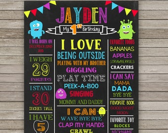 Monsters Chalkboard Poster, Monsters First  Birthday, ANY AGE, Monsters Poster Printable Birthday Party, Photo prop, Sing Personalized