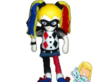 Harley Quinn Doll, Custom Soft Doll, Memory Bear, Keepsake Toy, Baby Doll, Nursery Décor, Personalized Doll, Personalized Toy, Toy for Girls