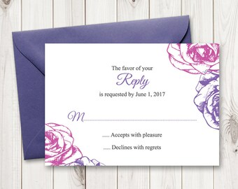 Purple Wedding RSVP Template. DIY Printable Response Card Summer Roses, Purple and Violet. Editable text, MS Wor Format. Instant Download.