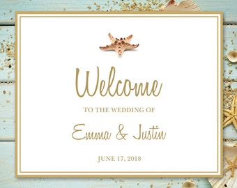 """Wedding Instagram Sign Template """"Seashell Songs"""", Gold. DIY Printable Welcome Sign, Photo Guestbook, Reception, Progrmas. Instant Download."""
