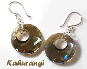 Bronze earrings,925 sterling silver, Swarovski bronze shade earrings,Victory pendant earrings,Trendy Swarovski earrings,bridal earrings,