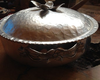 Vintage aluminum serving bowl with ornate cover and double handles