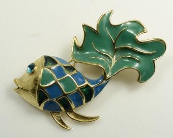 Trifari Large Enameled Gold Tone Fish Pin—1980s