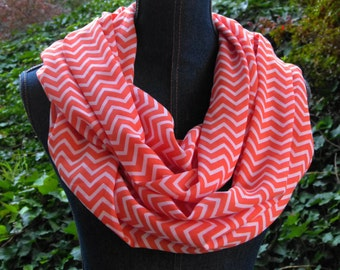 Coral Chevron Infinity Scarf; Loop Scarf; Long Circle Scarf; Silky Chevron Scarf; Scarves and Wraps