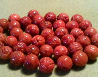 Red coral beads; beautiful red bamboo coral, carved round beads, 10mm, 8pcs/3.80.