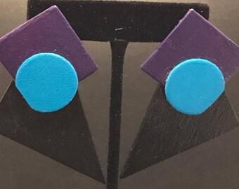 SALE!!! Funky Black, Purple, and Blue Post Earrings