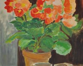 Vintage French Oil Painting of Geraniums, European Oil Painting, Floral Still Life, Flower Painting, Country Decor Hanging, Made in France
