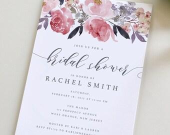 Bridal Shower Invitation, Floral Bridal Shower Invite, Floral Wedding Shower Invitation, Watercolor wedding shower, Beautiful shower, peony